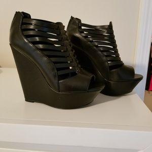 Black Wedge Heels by Shi